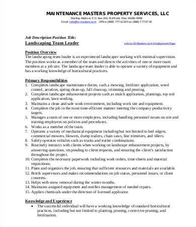 10 sle landscaping description templates pdf