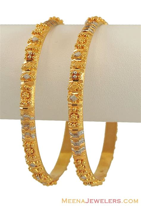pattern for gold bangles two tone bangles 22k gold bago9615 22kt gold two