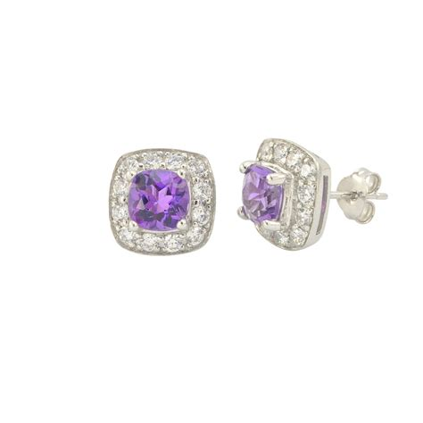 Diskon Cubic Zirconia Grade A6 Best Grade 8mm amethyst gemstone stud earrings 925 sterling silver square micropave c jewelryland