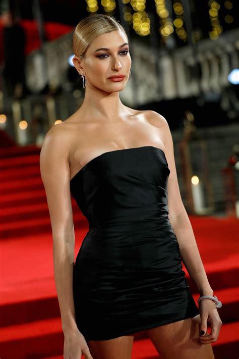 hailey baldwins black topshop dress  fashion awards