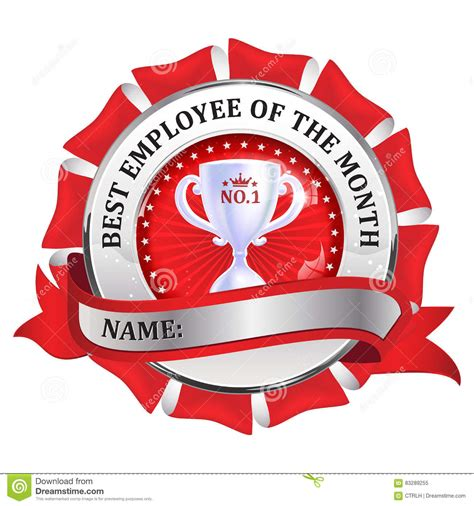 best employer best employee of the month metallic ribbon stock