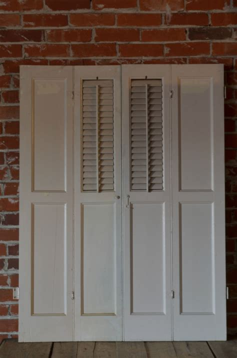 Wooden Window Shutters Interior Vintage Antique Window Treatment Wooden Louver Interior