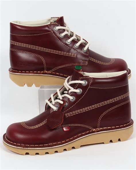 kickers kick hi boots in leather cherry brown 0
