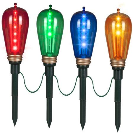 edison style christmas lights gemmy lights shooting pathway stakes edison style bulb set of 4 multicolor