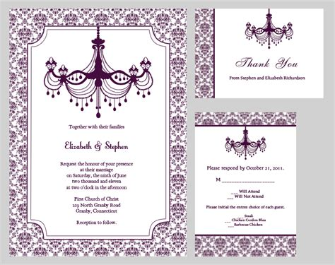 printable invitation kits vintage wedding invitation kit plum chandelier wedding