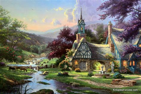 kinkade cottage painting kinkade clocktower cottage kinkade painting clocktower