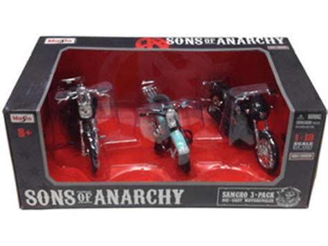 Maisto Real Motor Cycle 03 66 samcro sons of anarchy harley davidson motorcycle 3pc set 1 18 by maisto diecast scale model cars