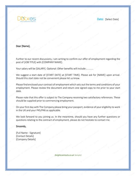 Employment Offer Letter Sle Uk Employment Offer Template 28 Images Offer Letter Templates Sles And Templates Sle Offer