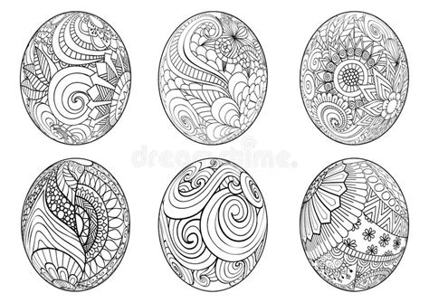 Zentangle Easter Eggs For Coloring Book For Adult Stock