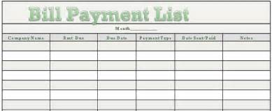 list of bills to pay template free printable monthly bill payment calendar