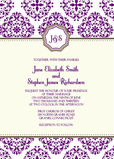 printable monogram wedding invitation templates free pdf download european pattern monogrammed wedding
