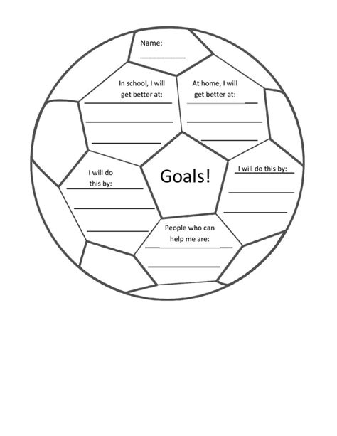 soccer goal setting worksheet setting goals worksheet for students images