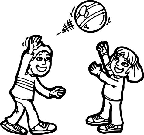coloring page of boy and girl playing boy and girl ball activity coloring page wecoloringpage