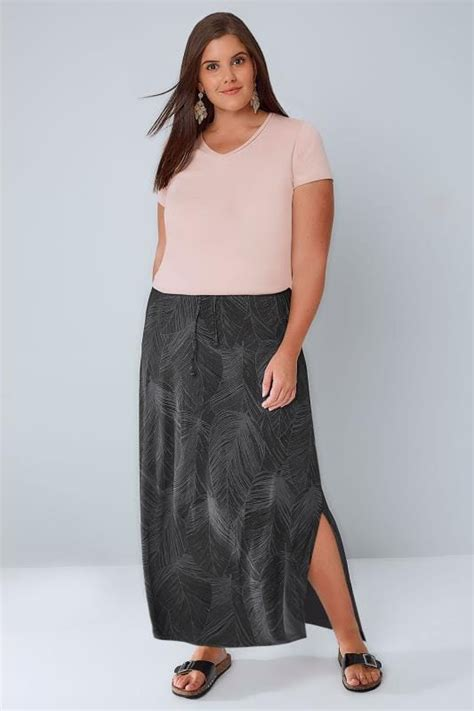 9809 Maxi Denim black grey leaf print pull on maxi skirt plus size 16 to 36