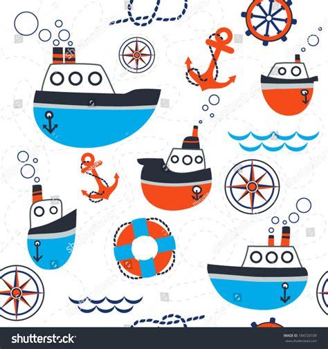 boat cartoon marine seamless pattern marine symbols boat anchor stock vector