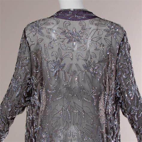 Silk Chiffon Glass Beaded Kimono Duster Jacket Or Maxi