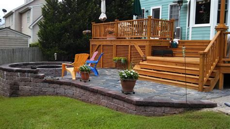 backyard wood patio custom built wood deck and stone patio deck patio