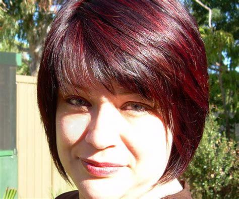 medium styled dark red haircuts for latinas bob darling hairstyle black hair red highlights jobspapa