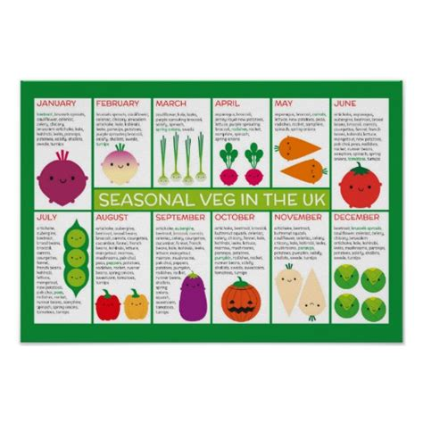 t shirts with vegetables on them uk seasonal vegetables chart poster zazzle