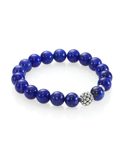 silver bead lagos lapis sterling silver bead bracelet in blue lyst