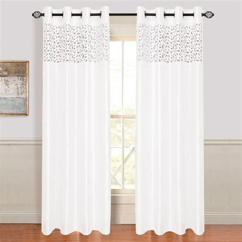 sears panel curtains lavish home karla laser cut grommet curtain panel at sears