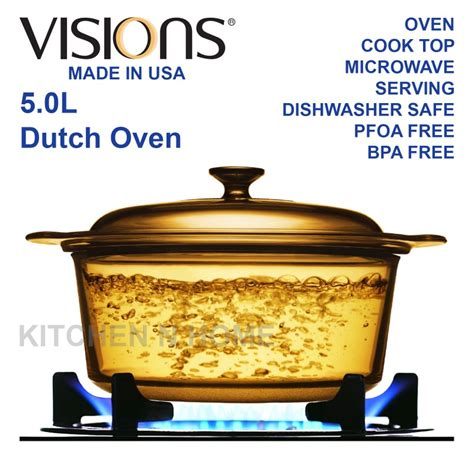 Kitchen Knives Made In Usa visions 5 0l glass dutch oven casserole cook pot glass