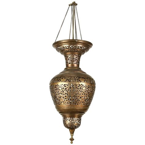 Moorish Brass Hanging Light Fixture For Sale At 1stdibs Brass Light Fixtures