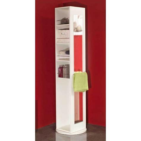 armoire miroir de salle de bain colonne pivotante salle de bain 5 niches 1 miroir blanc
