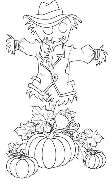 pumpkin scarecrow coloring pages pumpkins pumpkins and scarecrow pumpkins coloring page