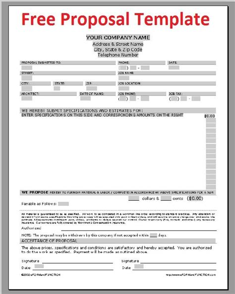 free business document templates printable sle construction template form