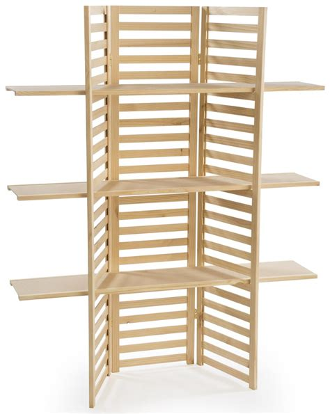display shelving wooden display rack 3 tier folding panels in natural pine