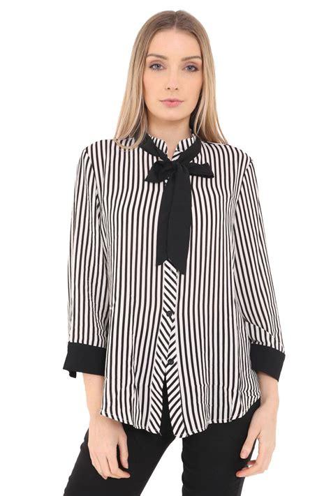 Blouse Striper Black Hitam Salur womens bow tie shirt striped buttoned blouse sleeve top ebay