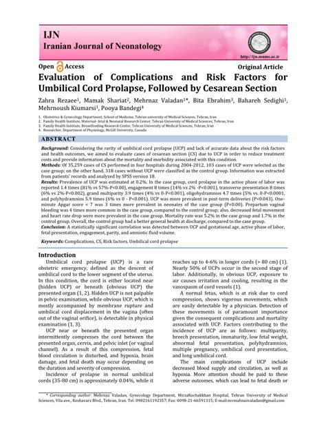 5 c sections risk evaluation of complications and risk factors for umbilical