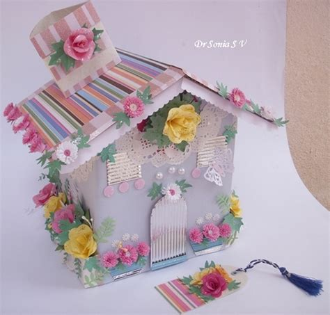 ls made from recycled materials house shaped box with punchcraft and quilling recycled