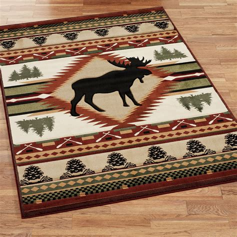 Rustic Area Rugs with Moose Wilderness Rustic Area Rugs