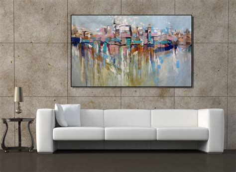 oversized wall art wall art extra large painting cityscape abstract painting