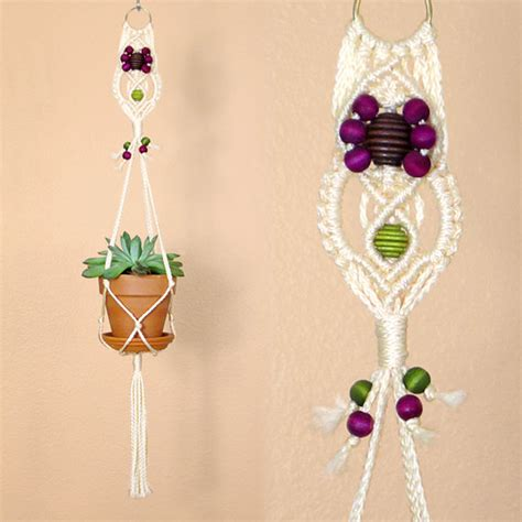 Rope Flower Pot Hangers - macrame flower pot hanger white 4 inch plant