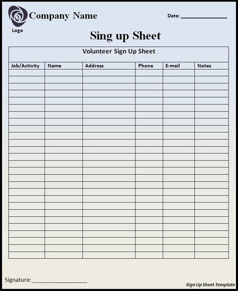 Free Template For Sign Up Sheet by Sign Up Sheet Template Word Templates
