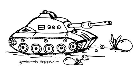 gambar mewarnai tank belajar mewarnai