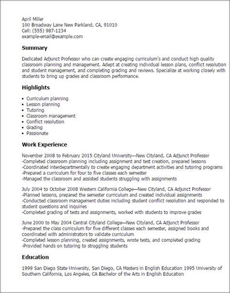 Resume Exles College Professor Professional Adjunct Professor Templates To Showcase Your Talent Myperfectresume