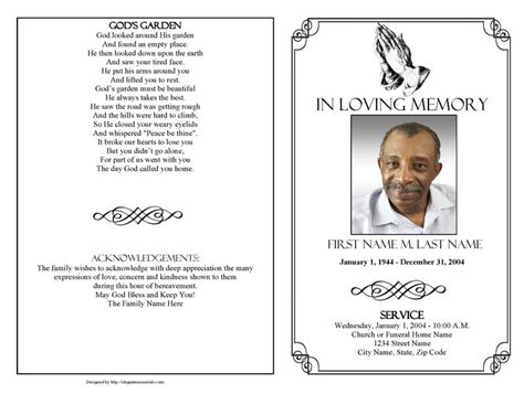 free funeral program template publisher funeral program template praying graduated fold