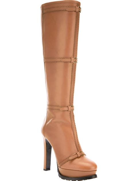 knee high boots cheap moschino cheap chic platform knee high boot in brown lyst
