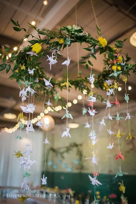 1000 paper cranes in wedding decor. Hanging centerpiece