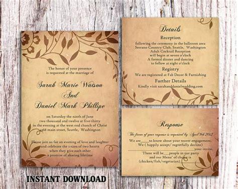 diy rustic wedding invitations templates diy rustic wedding invitation template set editable word