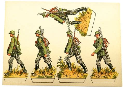 How To Make A Paper Soldier - german infantry 1940 marching png paper soldiers