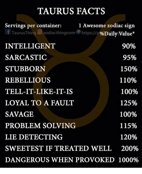 taurus zodiac sign taurus facts 1 awesome zodiac sign servings per container