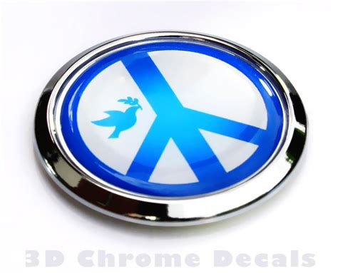 Auto Decals And Emblems by Religious Chrome Emblems Peace Symbol With Dove Decal Car