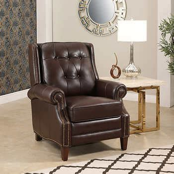 child leather recliner costco ridgewood top grain leather pushback recliner