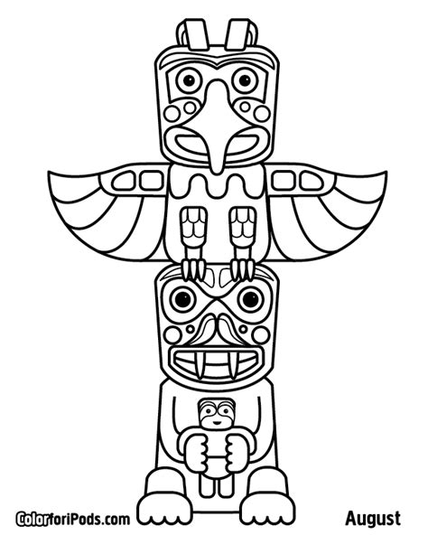 Pole Coloring Page totem poles coloring pages az coloring pages