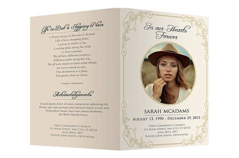 program card template free photoshop funeral program templates 187 designtube